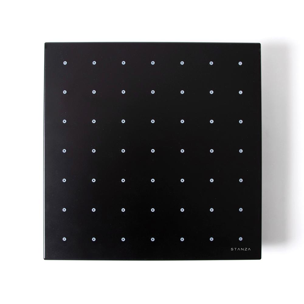 Regadera de rectangular negra 33 x 31 centímetros : STANZA