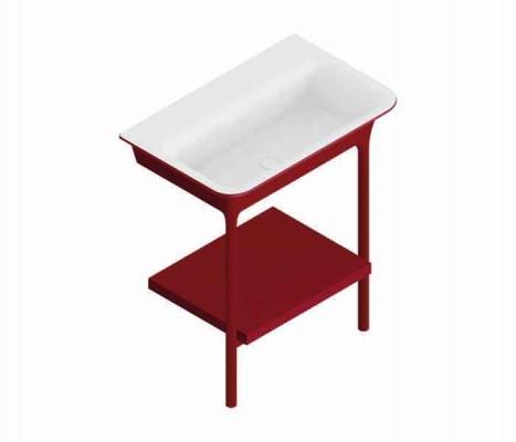 Mueble de baño con lavabo y repisa MORPHING Rojo : STANZA